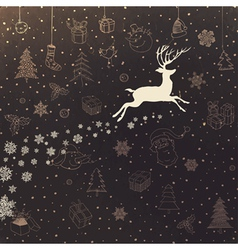Vintage christmas background with deer vector