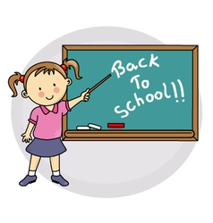 Girl writing on blackboard back to school vector image
