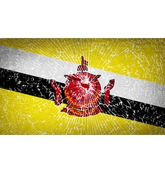 Flags brunei with broken glass texture vector
