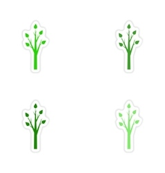Assembly realistic sticker design on paper tree vector