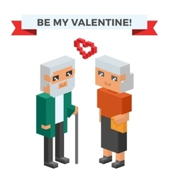 Isometric old family couple in love celebrate vector