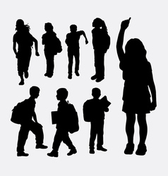 School girl and school boy silhouette vector