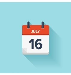 July 16  flat daily calendar icon date vector