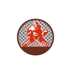 Ice hockey goalie circle retro vector