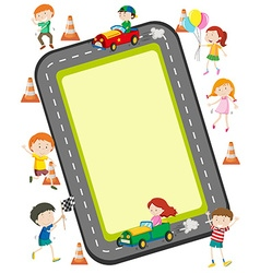 Children racing car on the road vector