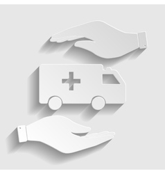 Ambulance sign paper style icon vector