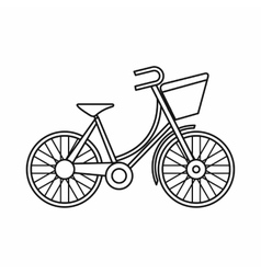 Bike with luggage icon outline style vector