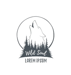 Wolf howling on the moon in the forest vector