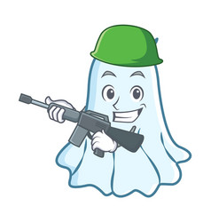 army cute ghost character cartoon vector image vector image