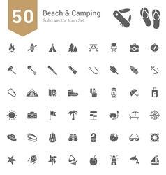 Beach and camping solid icon set vector