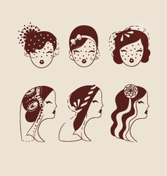beautiful brides with different veils and hair vector image vector image