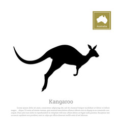 black silhouette of jumping kangaroo vector image