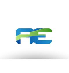 Blue green ae a e alphabet letter logo vector
