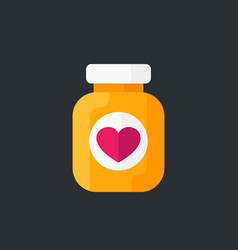 bottle of pills icon flat style vector image
