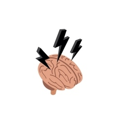 Brain with a lightning icon isometric 3d style vector image vector image