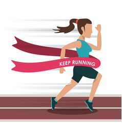 Colorful background with female athlete running in vector
