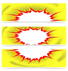 Comics style explosion header or flyer collection vector image