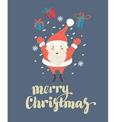 Cute santa claus jumping with christmas presents vector