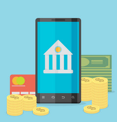 Flat design colored concept for mobile banking vector