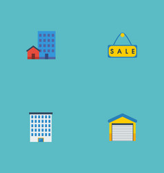 Flat icons depot buildings house and other vector