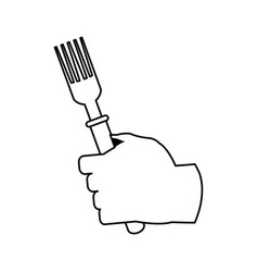 Hand holding fork cutlery icon image vector