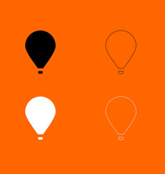 Hot air balloon black and white set icon vector