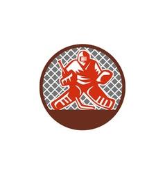Ice hockey goalie circle retro vector