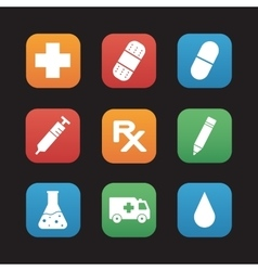 Medical center flat design icons set vector