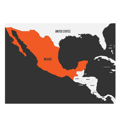 mexico orange marked in political map of central vector image vector image