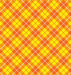 orange yellow tartan fabric texture diagonal vector image vector image