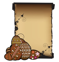 Paper scroll and Easter eggs vector image