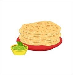 Pile Of Tortilla Bread Traditional Mexican Cuisine vector image vector image