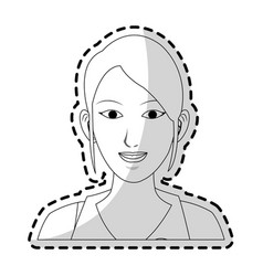 Pretty young woman icon image black line vector