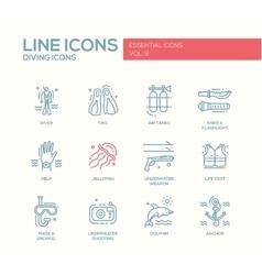 Scuba diving line design icons set vector