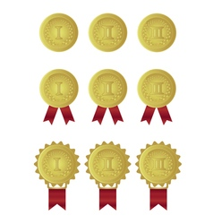 Set of gold medals with red ribbons vector