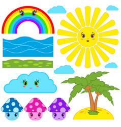 Set of isolated colored cartoon figurines vector