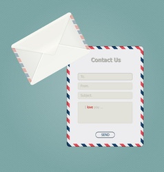 Simple message form and classic envelope vector image