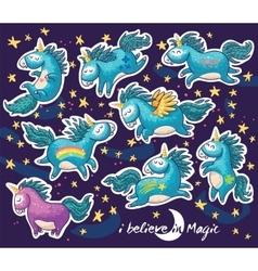 Sticker set of cute cartoon unicorn with rainbow vector image
