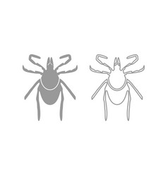 Tick icon grey set vector