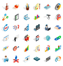 Training icons set isometric style vector