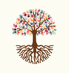Tree hand for diverse people team help vector