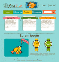 Website template with cartoon birds vector image vector image