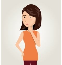 woman cartoon idea think creativity design vector image