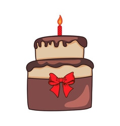 Birthday colorful cake on white background vector image