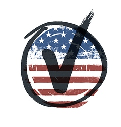 Grunge american flag themed button american flag vector