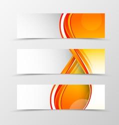 Set of header banner smooth wave design vector