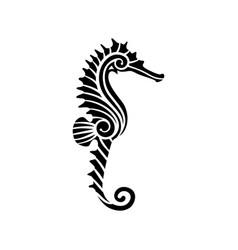 Stylized black seahorse vector