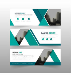 Blue triangle corporate business banner template vector