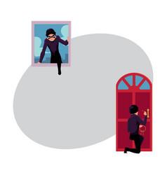 Thief burglar breaking in house through front vector