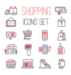 Shopping retail business internet market outline vector